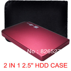 "Red 2 in 1 USB 2.0 2.5"" 2.5 inch HDD SATA Hard Driver Disk Case Enclosure Box FREE Leather case(China (Mainland))"