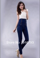 Drop Shipping Wholesale Good Quality Women European Style New products Double Breasted High Waist Fashion puls size Denim Jeans