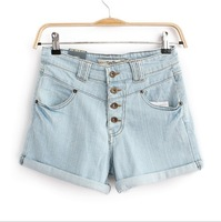 Free shipping loose women in Europe and America the was thin flanging retro high waist denim shorts ft201