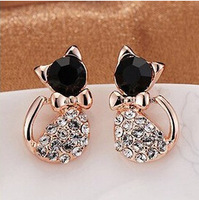 Korean Jewelry Imitate Diamond Cat Cute Bow Stud Earrings For Women Jewelry Wholesale Many styles be chosed for you  XY-E199
