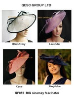 BIG saucer Sinamay Fascinator Hat with diameter 35cm,Feather and Veiling Trim.4 colors,coral,black/ivory,navy,purple