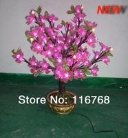 Novelty 2pcs/ctn AC24V LED Desk Bonsai Tree Artificial Plant  Table Lights Pink LED Flower Pot