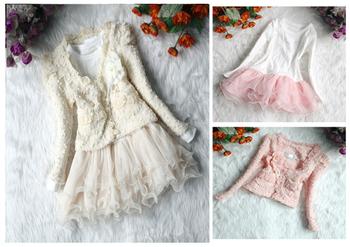 New Children Girls long sleeve Princess lace dress coat + dress 2 pcs hot sale