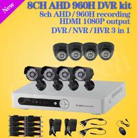 8CH DVR security camera video system 8 channel AHD 960H recording DVR 480TVL indoor outdoor Cameras 8CH CCTV surveillance kit