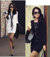 New Fashion Korea Women Sexy Long Sleeve Casual OL Slim Long Tops D0078