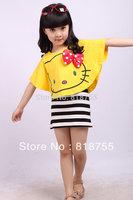 2014 fashion girls dresses sets summer cartooon hello kitty bowknot T-shirt+dress set kids clothes children dress freeshipping