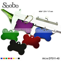 (200pieces/lot) bone dog tag, aluminum , multicolor ,free shipping &customized laser logo on 1 side,size:40x27x1mm