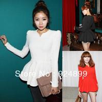 Black, Red, White,Green,.New Autunm Elegant Womens Fashion V-neck Long Sleeve Peplum Top Cotton Blends Blouse UK6-20