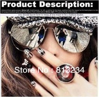 Dropshipping 2013 Hotsales!!! Name Brand The Solar Glasses Copper Frames Vintage Mirror Sunglasses Tops for Women Watch S-1