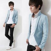 Korean new style Mens slim fit cotton casual blazer centre back vent normal lapel light blue black jackets for men new 2013 Free