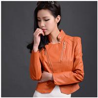 Free Shipping Clearance Korean Women's jackets . Locomotive Short Paragraph Slim PU leather Coat