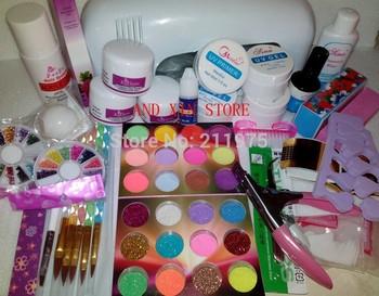 Promotion  9W UV white dryer lamp 24 color Acrylic Powder Nail Art Kit gel primer Set free HK POST