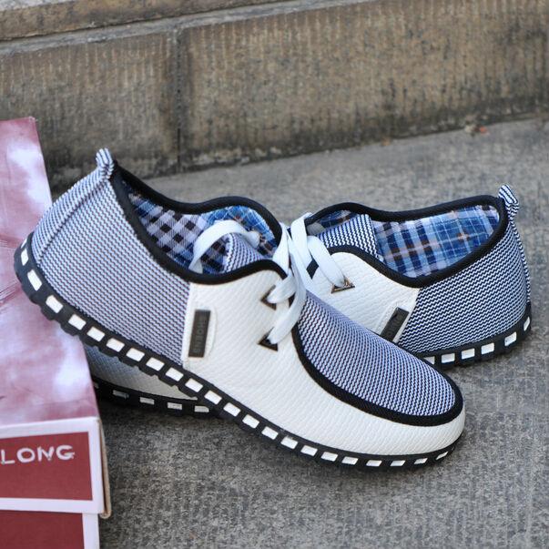 Nuovo stile british degli uomini moda a righe traspirante ricreative pizzo- fino casual zapato appartamenti scarpe da ginnastica scarpe spedizione gratuita ls001
