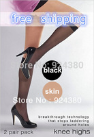 /mixed color available/ glossy Knee High pop women stockings with ribbon 2Pair/lot kit hold ups Slight sheen