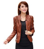 Free Shipping  Autumn Slim Washed leather Women Jacket Plus Size Mandarin Collar Leather Coat  M-L-XL-XXL-XXXL