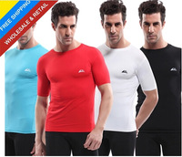 High quality 2013 New men's short sleeve elastic cotton sport tee t shirt sportwear trainning top T-shirts sport athletic wear