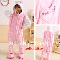 All in one Cute Flannelette Pajamas Coral fleece stitch cartoon animal sleepwears unisex pyjamas by0020 Hello Kitty Pyjamas