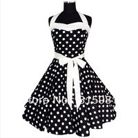 Halter Black White Polka Dot 50's 60's Rockabilly Dress PIN UPs Swing DRESS ALL SIZES XS S M L XL XXL 3XL 4XL