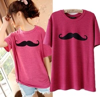 (5colors)2013 summer lovely Korean moustache  pattern  casual cotton women t shirt  Ladies top   wholesale HH6783