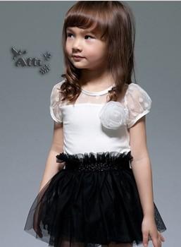 2013 summer models  black and white princess dress children dress girls dress yarn free shipping 5pcs/lot LI761 Hot sale!!