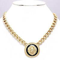 Celebrity Style Rihanna Jewelry Gold/Silver Statement Round Lion Head Chain Link Necklace
