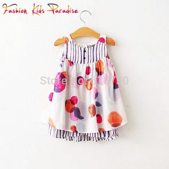 2014 New Arrival summer fashion children dress, France designer girls dress, baby girl print dress brand kids dress, 3-7Y