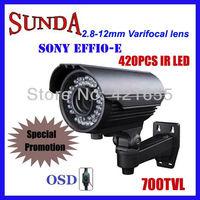 "700TVL Effio Sony CCD 2.8-12mm vari-focal lens, 1/3"" sony Effio-E security camera+ free shipping,IR LED 42pcs,40~50 distance"