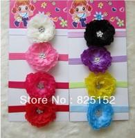 8sets Mini peony beautiful Kid Baby Girl Headband Hairband Hairbow Infant Knitting Hair Weave Flower Clip Headwear Accessiries
