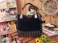 2014 New Rivet Package Stitching Flannel Bag Shoulder Bag Brand Fashion Handbag Free Shipping Rivet Studded Messenger Bag