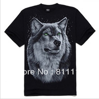 Trend Knitting Hot SALE  top Fashion loose Cotton comfortable 3 d printing  Wolf short sleeves T-shirt men M-4XL