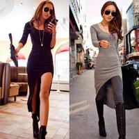 women Winter dresses 2014 ankle-length sexy dress Long sleeve bodycon black party dresses cotton Split maxi dress