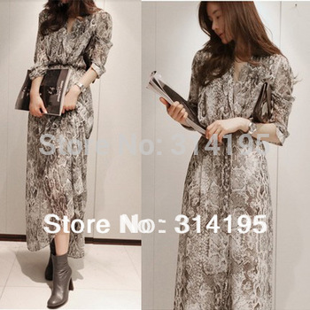 Free\Drop Shipping New Arrival High Quality Print Chiffion One-Piece Dress (2-Piece Set) Lady Long Dress Snake Color