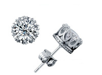 Free Shipping New Arrivals Imperial Crown 925  Silver Stud  Earrings Jewelry  With  AAA Swiss Crystal