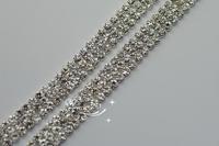 3 Row 4mm  888 Rhinestone chain  Cake Ribbon Trim Wedding Decoration  for sewing accessories 1 yard