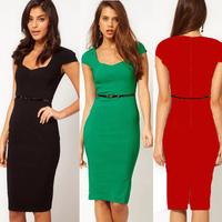 2013 Hot selling New Cap sleeve Womens Fashion Silm Temperament Sexy OL Pencil Summer sheath Knee-Length Dress  D0082