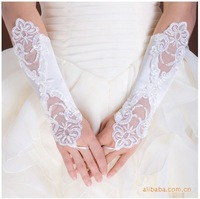 White Bridal Glove Wedding Gloves Lace No finger Wedding Satin Lace Beads Fingerless Bridal Gloves Free Shipping, PH0009