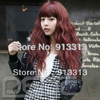 Women's Girls Bang Burgundy Sexy Long Wavy Curly Fashion Hair Full Wig Cosplay wigs 4 colors
