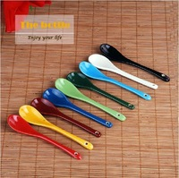 Freeshipping small Multicolour candy color ceramic spoon,Porcelain coffee Honey spoon.