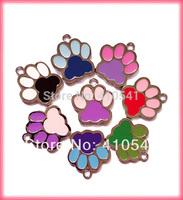 HOT Sale Pet Products Free Shipping Mix Colors 300 Pcs/ Lot Dog Paw shape 30*26mm Pet ID Tags DIY Dog Tags Fashion Pet Tags