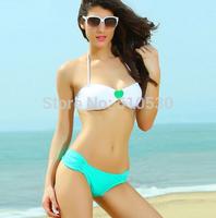 Free Shipping Women Fashion Bikini Set Famous Brand Heart-shaped Decoration Style Beachwear Sexy Swimwear