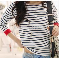 2014 New  Women Tops High quality Striped O-Neck T-Shirt Long Sleeve Striped T Shirts Tees Blusas Femininas 6007
