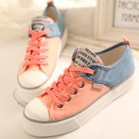 women's  patchwork color shoes ladies fashion leisure lace-up canvas shoes rubber sneakers for women 3539