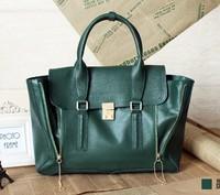 Hot Sell 2013 Fashion Europe and America Zipper Handbag Vintage Tote Bag Name Brand Genuine Leather Flap Bag Shoulder Purse bag