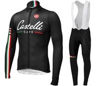 new arrival !! Road bike cycling clothing 2014&cycling bib pant set Cafe team cycling jersey Long sleeve &bib pants kit black