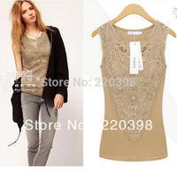2014 hot sale New Women fashion Patchwork Slim Hip shirts Lace Sheer Sleeve Embroidery Plus size Shirt 3color 5szie S-XXXL 8917