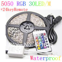 Waterproof 5M 150 Led  5050 SMD RGB Strip Light Party Deco Car Lights + 24key IR Remote Control