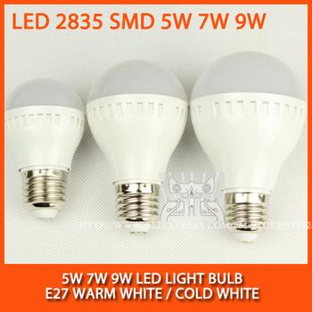 High brightness LED Bulb Lamp E27 2835SMD 5W 7W 9W AC220V 230V 240V Cold white/warm white Free shipping