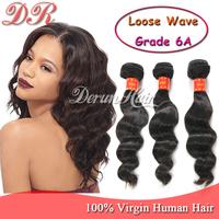 Brazilian virgin hair Extension Loose wave Rosa hair products 100% human hair Weft Extension 3pcs/lot grade 6A Human Hair Weave