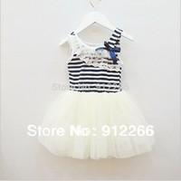 baby girls dress 1-4T  tutu dress Striped kids cotton lace bow girl dress white Rose red  green ,13APR106