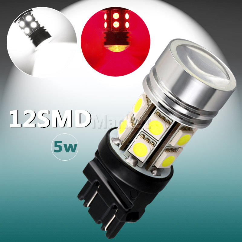 2pcs 3156 3157 P27/7W T25 Led High Power LED 5W 12 SMD 5050 Pure White Stop Tail 5W led Car Light Bulb Lamp car light source(China (Mainland))